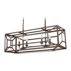 Feiss Lighting Marquelle Weathered Iron Island Light with Rectangle Shade