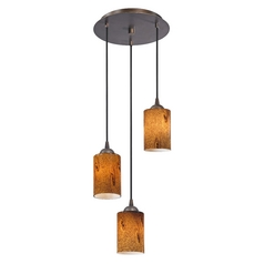 Design Classics Lighting Modern Multi-Light Pendant Light with Brown Art Glass and 3-Lights 583-220 GL1001C