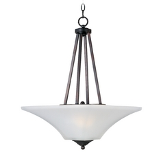 Modern Pendant Light with White Glass in Oil Rubbed Bronze Finish