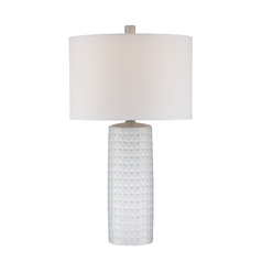 Lite Source Lighting Diandra White Table Lamp with Drum Shade