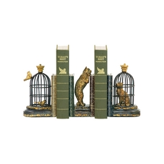 Trading Places Cat and Bird Decorative Bookends