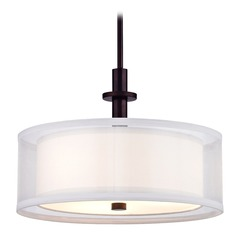 Double Organza Drum Pendant Light Bronze 16 Inches Wide 3 Lt