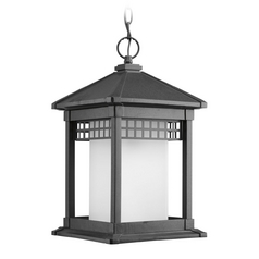 Progress Outdoor Hanging Light with White Glass in Black Finish