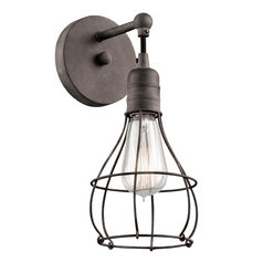 Kichler Lighting Industrial Cage Weathered Zinc Sconce