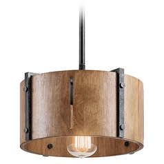 Kichler Lighting Elbur Distressed Black Pendant Light with Drum Shade