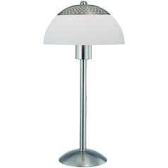 Modern Table Lamp with White Shade in Polished Steel Finish