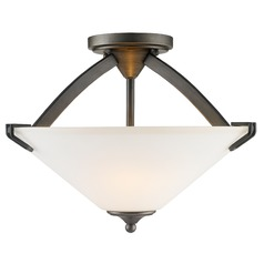 Golden Lighting Presilla Gunmetal Bronze Semi-Flushmount Light