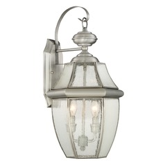 Beveled Seeded Glass Outdoor Wall Light Pewter Quoizel Lighting
