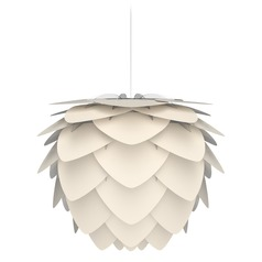 White Pendant Light with Pearl White Metal Shade