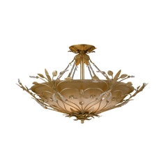 Crystal Semi-Flushmount Light with Amber Glass in Gold Leaf Finish