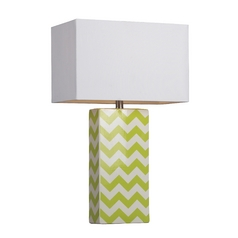 Table Lamp with Chevron Pattern and White Rectangle Shade