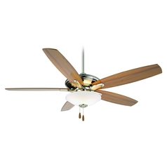 52-Inch Ceiling Fan with Light with White Glass in Brushed Nickel Finish
