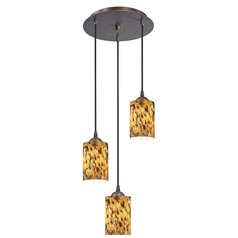 Design Classics Lighting Modern Multi-Light Pendant Light with Brown Art Glass and 3-Lights 583-220 GL1005C