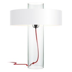 Modern Table Lamp with White Paper Shade in Clear Glass Finish