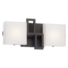 Modern LED Bathroom Light with White Glass in Bronze Finish