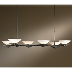 Hubbardton Forge Lighting Moreau Dark Smoke Island Light with Conical Shade