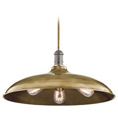 Kichler Lighting Cobson Natural Brass Pendant Light with Bowl / Dome Shade