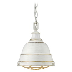Golden Lighting Bartlett French White Mini-Pendant Light with Bowl / Dome Shade
