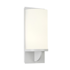 Modern Sconce Wall Light with White Glass in Satin White Finish