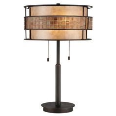 Modern Table Lamp with Beige / Cream Mica Shade in Renaissance Copper