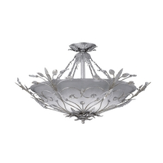 Crystal Semi-Flushmount Light with White Glass in Silver Leaf Finish