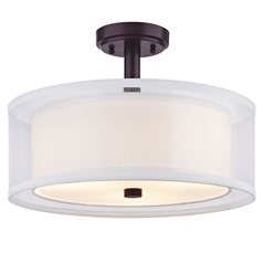 Double Organza Drum Ceiling Light Bronze 16 Inches Wide 3 Lt