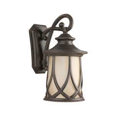 Progress Outdoor Wall Light with Brown Glass in Aged Copper Finish