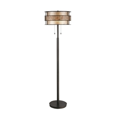 Modern Floor Lamp with Beige / Cream Mica Shade in Renaissance Copper