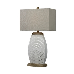 Table Lamp in Sand Finish with Wood Tones and Rectangle Shade