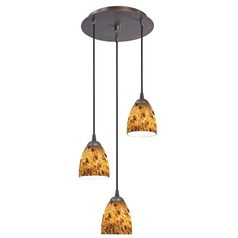 Design Classics Lighting Modern Multi-Light Pendant Light with Brown Art Glass and 3-Lights 583-220 GL1005MB