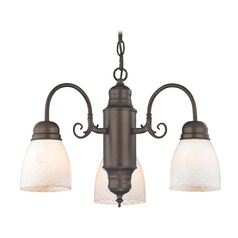 Mini-Chandelier with White Art Glass in Bronze Finish