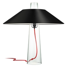 Modern Table Lamp with Black Paper Shade in Clear Glass Finish