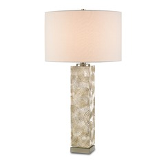 Currey and Company Lighting Sunbeam Chinois Silver Leaf / Satin Nickel Table Lamp with Drum Shade