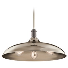 Kichler Lighting Cobson Polished Nickel Pendant Light with Bowl / Dome Shade