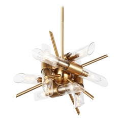 Feiss Lighting Quorra Burnished Brass Mini-Chandelier
