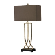 Table Lamp in Antique Silver Leaf Finish with Rectangle Shade