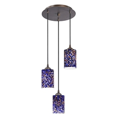 Design Classics Lighting Modern Multi-Light Pendant Light with Blue Glass and 3-Lights 583-220 GL1009C