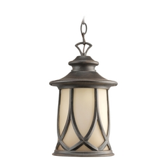 Progress Outdoor Hanging Light with Brown Glass in Aged Copper Finish