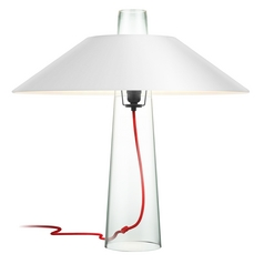 Modern Clear Glass Table Lamp with White Paper Shade and Red Cord