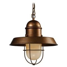 Nautical Copper Pendant Light with Cage Shade