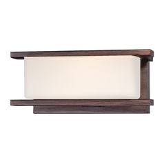 Modern Sconce Wall Light with White Glass in Tuscana Finish