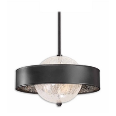 The Uttermost Company Modern Pendant Light with Clear Glass in Black Finish 21919