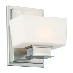 Sconce Wall Light with White Glass in Satin Platinum Finish
