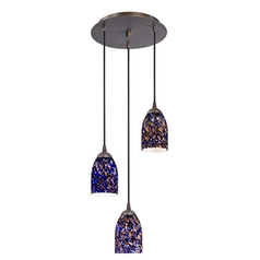 Design Classics Lighting Modern Multi-Light Pendant Light with Blue Glass and 3-Lights 583-220 GL1009D