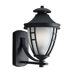 Progress Outdoor Wall Light with White Glass in Textured Black Finish