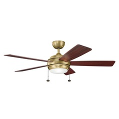 Kichler Lighting Starkk Natural Brass Ceiling Fan with Light