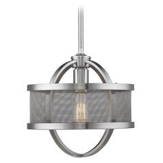 Golden Lighting Colson Pw Pewter Mini-Pendant Light with Drum Shade