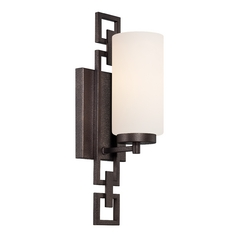 Sconce Wall Light with White Glass in Flemish Bronze Finish