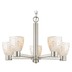 Mosaic Glass Chandelier Satin Nickel 5-Lights