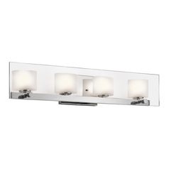 Kichler Modern Bathroom Light with White Glass in Chrome Finish